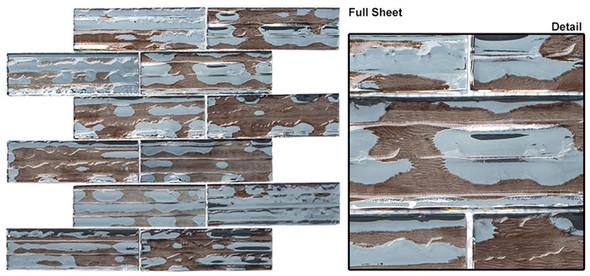 Dropletts DRP983 Camo Rain - 2 X 6 Textured Mirror Glass Subway Brick Tile - Sample