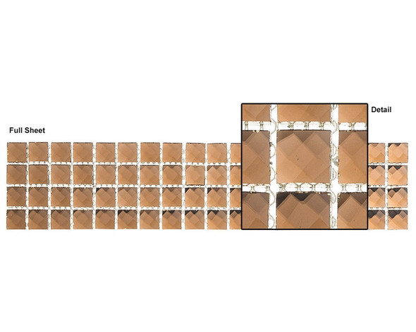 Kasbah - KS446 Honey Baklava - 2.5 X 12 Jewel Mirror Glass Tile Mosaic Border Liner Strip