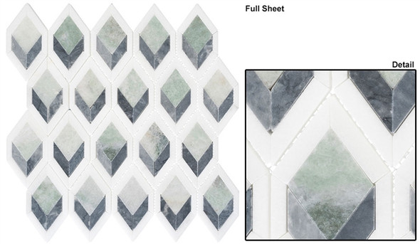 Ashbury - AHR-432 Cornflower Way - Diamond Shape Pattern Marble Stone Mosaic - Sample