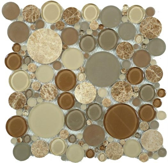 Round Bubble Glass & Natural Stone Marble Mosaic Tile - BFS-801 Toffee - Interlocking Sheet - Sample