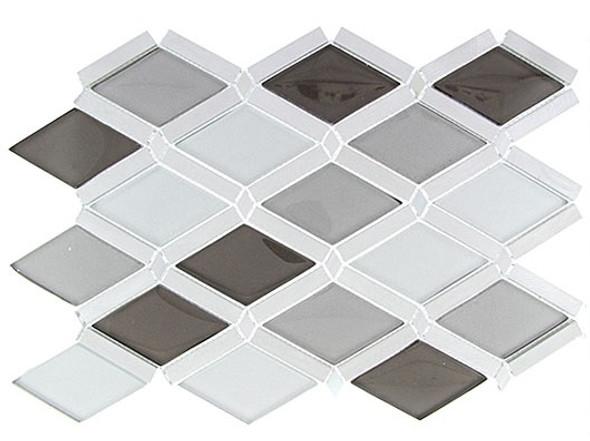 Falling Star - FGS-222 Silver Quill - Glass & Aluminum Metal Mosaic Tile - Sample