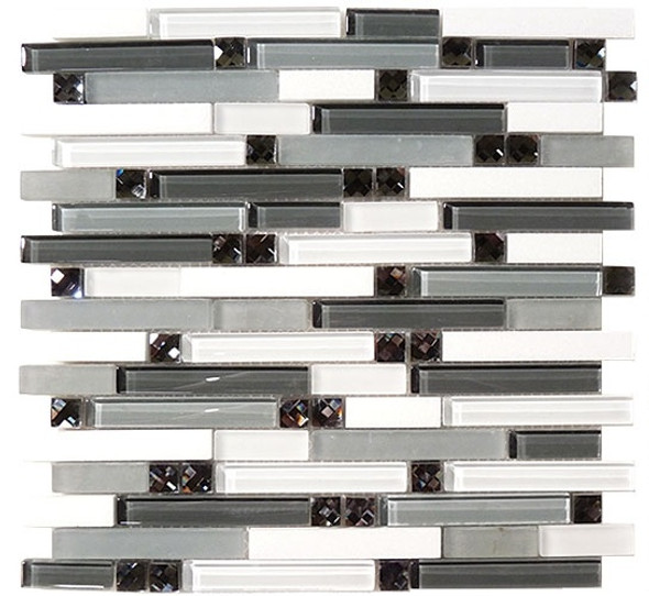 Supplier: Tile Store Online, Name: SPS-1504, Color: Deep Harmony,Type: 5/8 X Random Brick Linear Glass & Stone Mosaic Tile, Size: 12X12