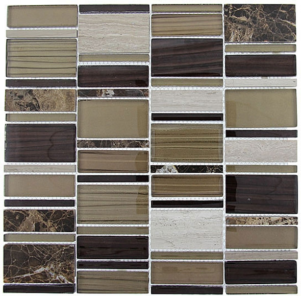 Supplier: Tile Store Online, Name: Corrugated CSS-120, Color: Olivine Shell,Type: Multi Size Offset Glass, Stone, Mosaic Tile, Size: Random