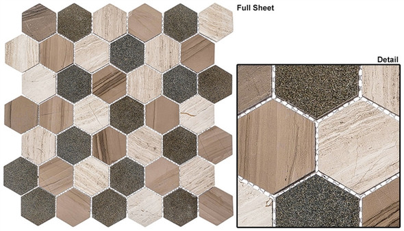 "Colonial - CLNL-272 New Chesapeake - 2"" Hexagon Marble Stone Mosaic - Sample"