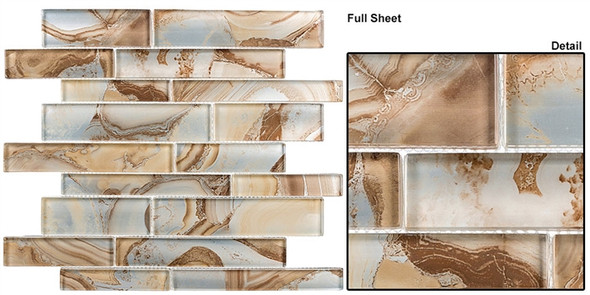 Magical Forest - MGF-622 Cinnamon House - Random Brick Decorative Glass Mosaic Tile