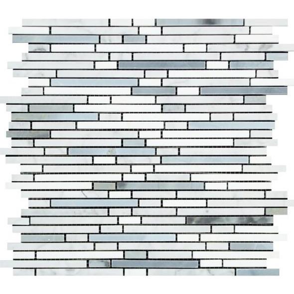 Carrara White Marble - Bamboo Sticks Mix #2 - 5/16 X Random Length Mini Brick Strip Mosaic - POLISHED - Sample