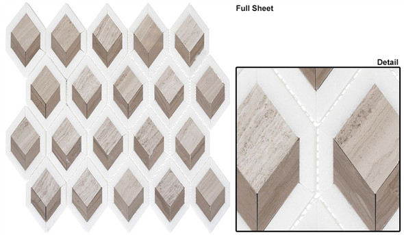 Ashbury - AHR-433 Moonlit Passage - Diamond Shape Pattern Marble Stone Mosaic - Sample