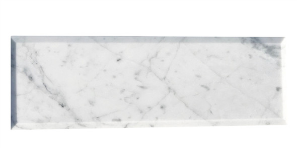 Carrara White Marble - 4 X 12 Beveled Subway Brick Rectangle Tile - POLISHED