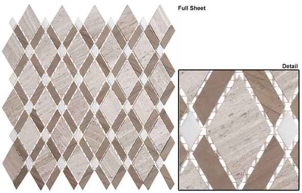 Diamond - DS-55 Wooden White Athens Gray - Diamond Pattern Marble Stone Mosaic Tile - Sample