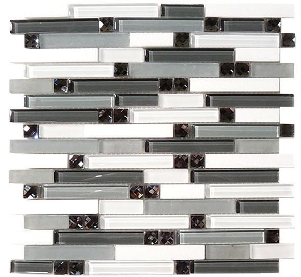 Symphony - SPS-1504 Deep Harmony - 5/8 X Random Brick Linear Glass & Natural Stone Mosaic Tile - Sample