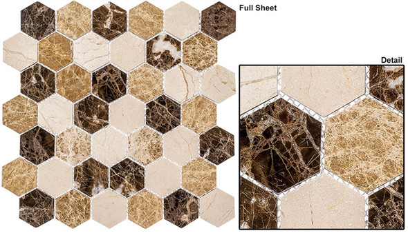 """Colonial - CLNL-273 Rock Haven - 2"""" Hexagon Marble Stone Mosaic - Sample"""