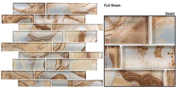 Magical Forest - MGF-622 Cinnamon House - Random Brick Decorative Glass Mosaic Tile - Sample