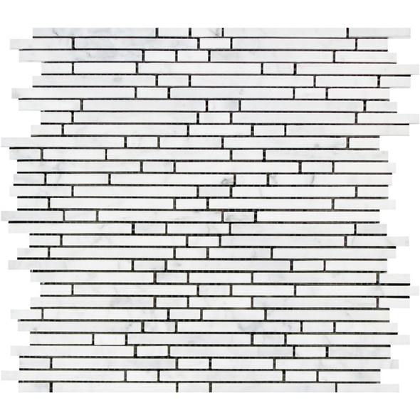Carrara White Marble - Bamboo Stick - 5/16 X Random Length Mini Brick Strip Mosaic - HONED