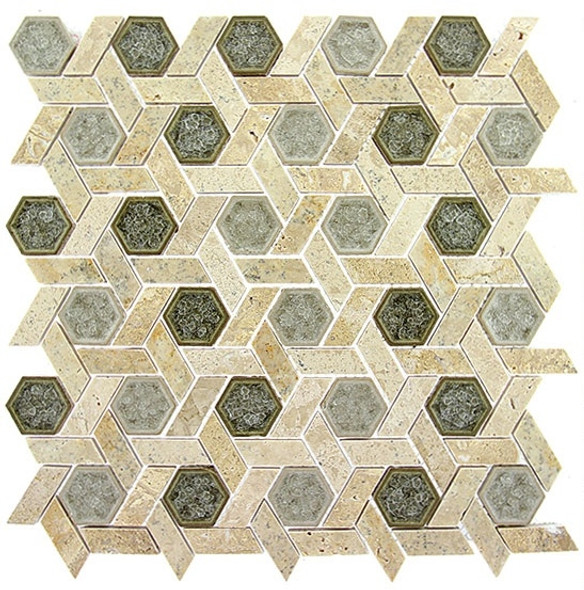 Tranquil Hexagon - TS-955 Olympus Shade - Crackle Jewel Glass & Natural Stone Decorative Mosaic Tile - Sample