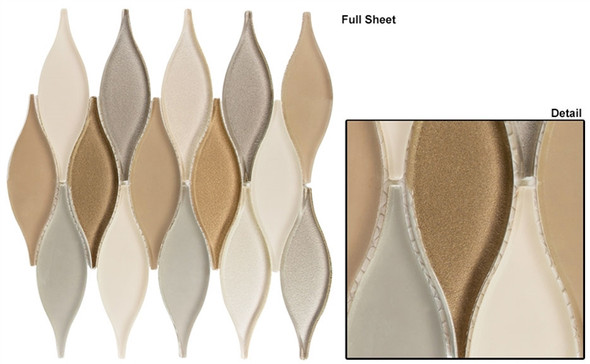 Chandelier - CHS-216 Seaside Cliffs - Flame Shape Glass & Metal Mosaic Tile - Sample