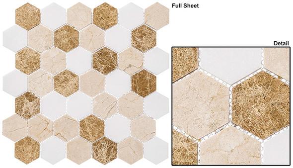 "Colonial - CLNL-274 Providence Pier - 2"" Hexagon Marble Stone Mosaic - Sample"