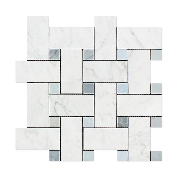 Carrara White Marble - Large Basketweave Pattern Mosaic Tile - Blue Gray Dot - POLISHED