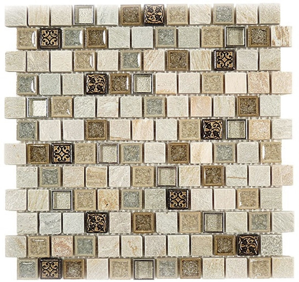 Supplier: Tile Store Online, Name: Tranquil Offset TS-926, Color: City Fiber, Type: Crackle Jewel Glass & Stone Mosaic Tile, Size: 1X1