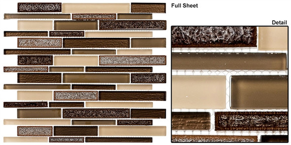 Bella Muro - BMS-242 Monterey Suede - Random Brick Linear Crackle Jewel Glass Mosaic Tile