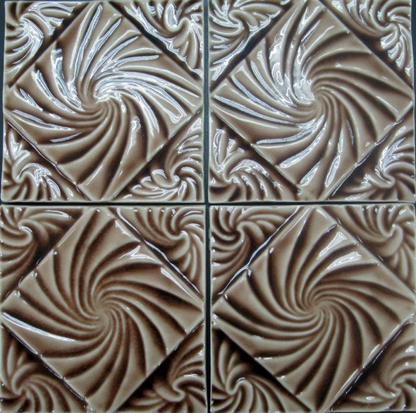 Bristol Studios - Nouveau - G2452 Lyon Chestnut Relief Deco - 6X6 Hand Crafted Decorative Tile - $4.95
