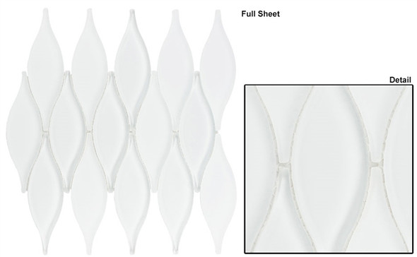 Chandelier - CHS-217 Marshmallow White - Flame Shape Glass & Metal Mosaic Tile