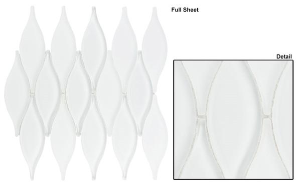 Chandelier - CHS-217 Marshmallow White - Flame Shape Glass & Metal Mosaic Tile