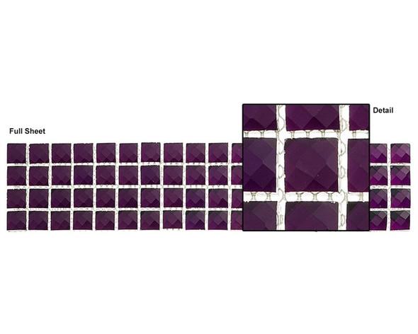 Kasbah - KS448 Amethyst Crown - 2.5 X 12 Jewel Mirror Glass Tile Mosaic Border Liner Strip