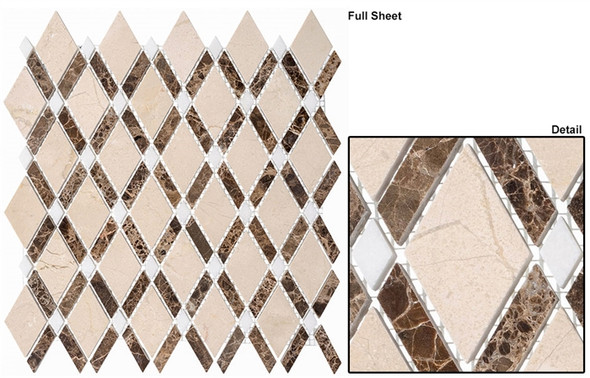Diamond - DS-56 Crema Marfil Empr Dark - Diamond Pattern Marble Stone Mosaic Tile - Sample