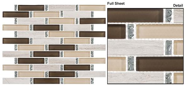 Interlace - INT-251 Herbal Garden - 7/8 X 3-7/8 Brick Linear Glass & Natural Stone Mosaic Tile