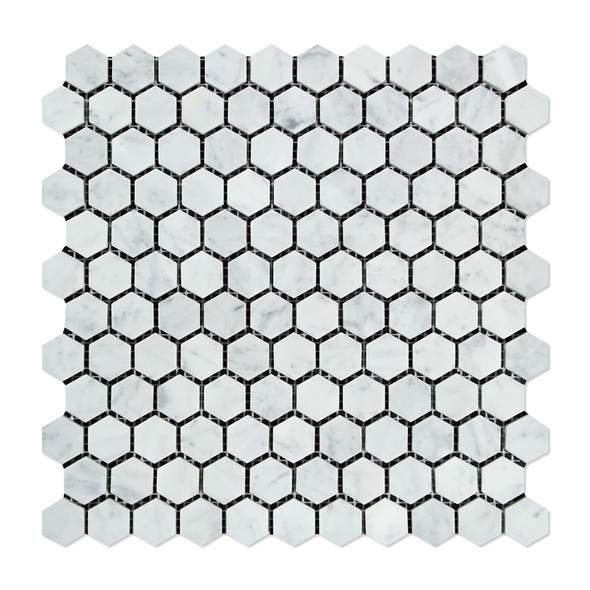 White Carrara Marble - 1 X 1 Hexagon Mosaic - Polished - Premium Italian Carrera Natural Stone