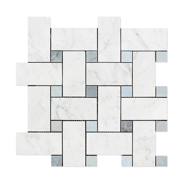 Carrara White Marble - Large Basketweave Pattern Mosaic Tile - Blue Gray Dot - POLISHED - Sample