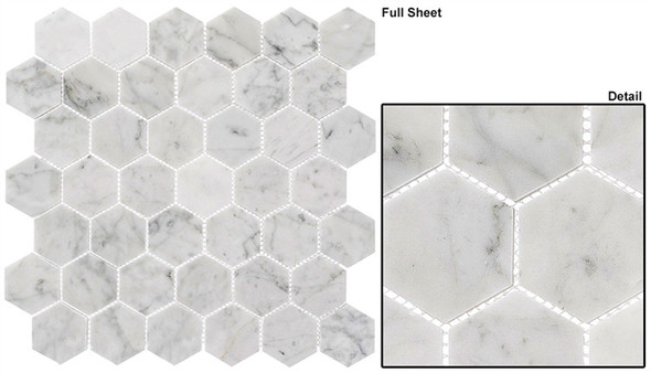 """Colonial - CLNL-275 Captains Manor - 2"""" Hexagon Marble Stone Mosaic - Sample"""