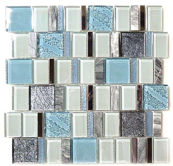Academia - AS-76 Astronomers Light - Random Offset Glass, Natural Stone, & Metal Mosaic Tile - Sample