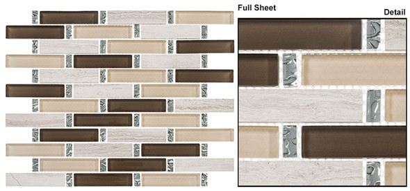 Interlace - INT-251 Herbal Garden - 7/8 X 3-7/8 Brick Linear Glass & Natural Stone Mosaic Tile - Sample
