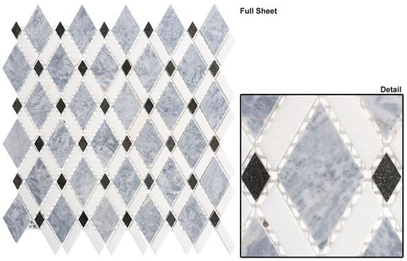 Diamond - DS-57 Mugworth Thassos White - Diamond Pattern Marble Stone Mosaic Tile
