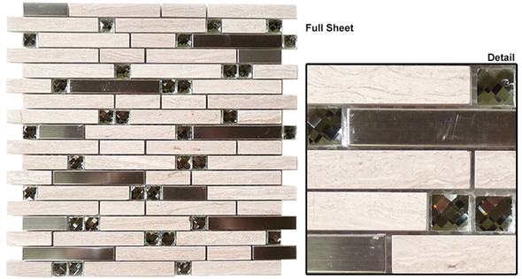 Supplier: Tile Store Online, Name: SPS-1506, Color: Peaceful Breeze,Type: 5/8 X Random Brick Linear Glass & Stone Mosaic Tile, Size: 12X12