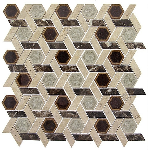 Tranquil Hexagon - TS-956 Temple Inspiration - Crackle Jewel Glass & Natural Stone Decorative Mosaic Tile - Sample
