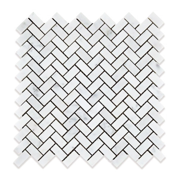 Carrara White Marble - Mini Herringbone Pattern Marble Mosaic Tile - 5/8 X 1-1/4 - HONED