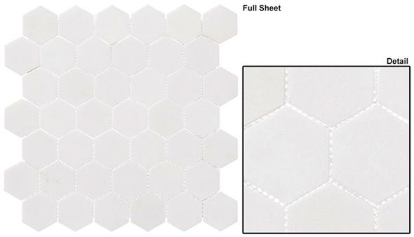 "Colonial - CLNL-276 Light Canopy - 2"" Hexagon Marble Stone Mosaic - Sample"