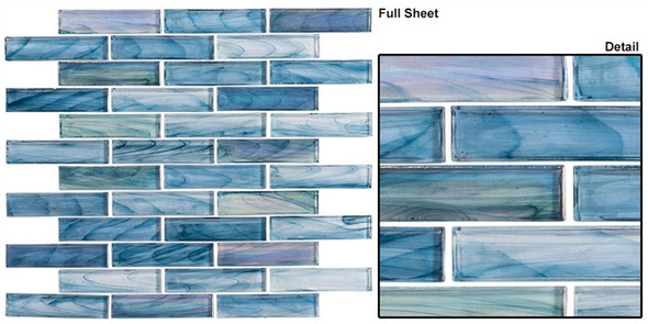 Oyster Cove - OTC-1201 Galapagos Deep - Linear Subway Brick Strip Glass Mosaic Tile