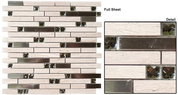 Symphony - SPS-1506 Peaceful Breeze - 5/8 X Random Brick Linear Glass & Natural Stone Mosaic Tile - Sample