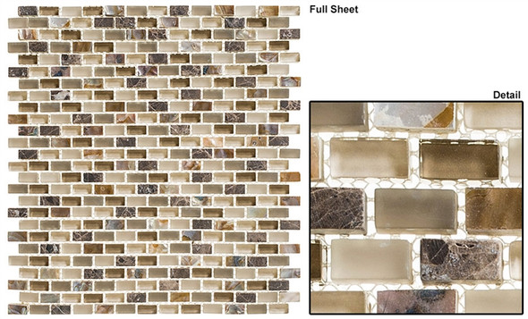 Americana - AMER-391 Apple Pie - 3/4 X 3/8 Mini Brick Subway Glass & Stone Mosaic Tile - Sample