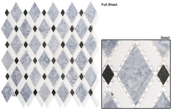 Diamond - DS-57 Mugworth Thassos White - Diamond Pattern Marble Stone Mosaic Tile - Sample