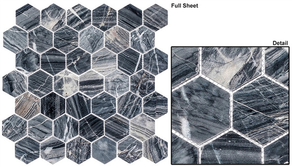 "Colonial - CLNL-277 Salem Charcoal - 2"" Hexagon Marble Stone Mosaic - Sample"