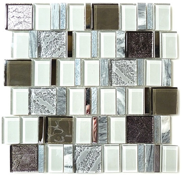 Academia - AS-77 Evolution Grey - Random Offset Glass, Natural Stone, & Metal Mosaic Tile - Sample