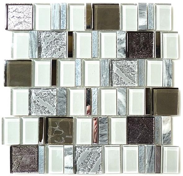 Academia - AS-77 Evolution Grey - Random Offset Glass, Natural Stone, & Metal Mosaic Tile - Sample