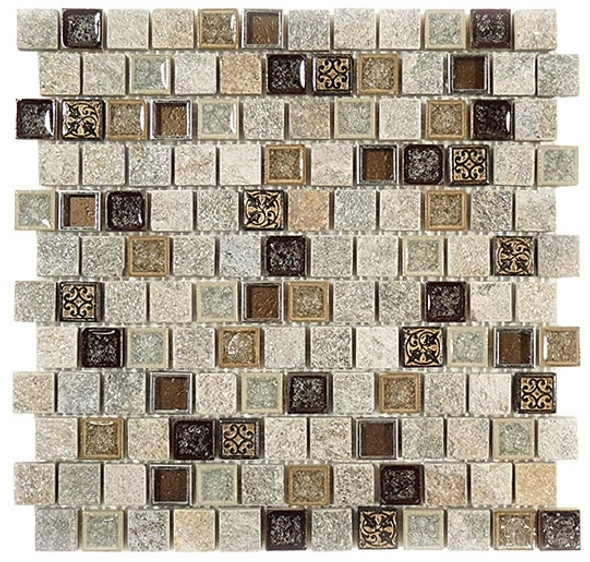 Tranquil Offset - TS-927 Misty Scales - 1X1 Crackle Jewel Glass & Natural Stone Decorative Mosaic Tile - Sample