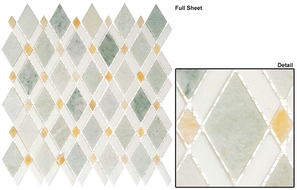 Diamond - DS-58 Ming Green Light Thassos White - Diamond Pattern Marble Stone Mosaic Tile
