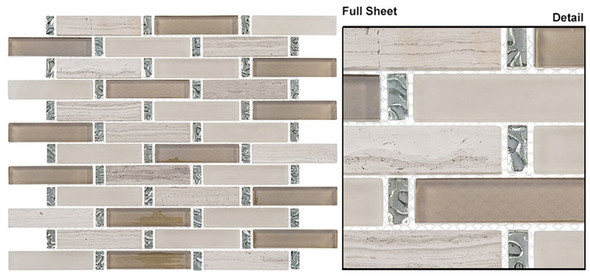 Interlace - INT-252 Milestone - 7/8 X 3-7/8 Brick Linear Glass & Natural Stone Mosaic Tile - Sample