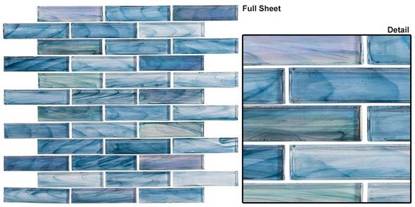 Oyster Cove - OTC-1201 Galapagos Deep - Linear Subway Brick Strip Glass Mosaic Tile - Sample